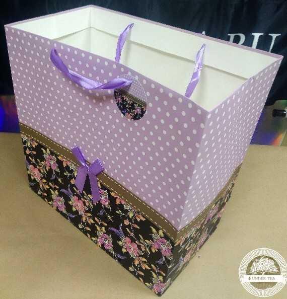 Пакет-сумка люкс сирень-горох
